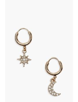 Star And Moon Diamante Huggie Hoop Earrings by Boohoo