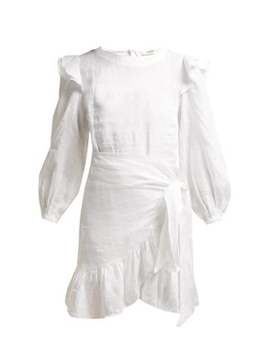 Telicia Ruffle Trim Linen Dress by Isabel Marant Étoile
