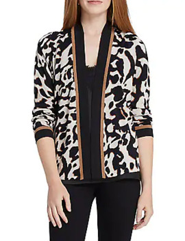 Leader Of The Pack Animal Print Cotton Blend Cardigan by Nic+Zoe