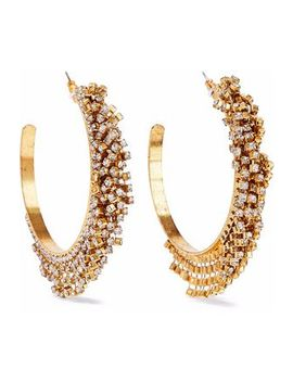 Raven 24 Karat Gold Plated Swarovski Crystal Hoop Earrings by Elizabeth Cole