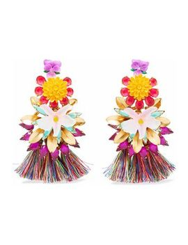 24 Karat Gold Plated, Stone, Acrylic And Tassel Earrings by Elizabeth Cole