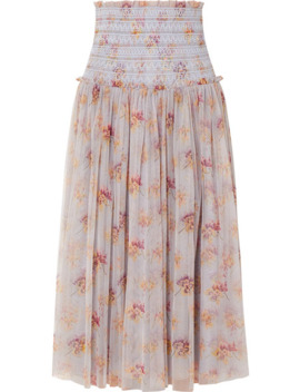 Think Of Me Shirred Floral Print Tulle Midi Skirt by Needle & Thread