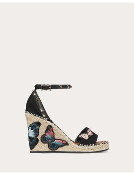 Embroidered Butterfly Canvas Wedge Sandal 105 Mm by Valentino