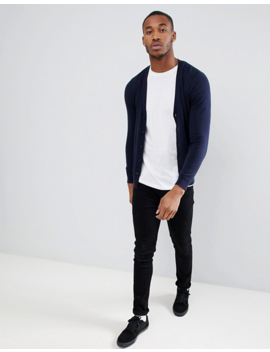 Asos Design Cotton Cardigan In Navy by Asos Design