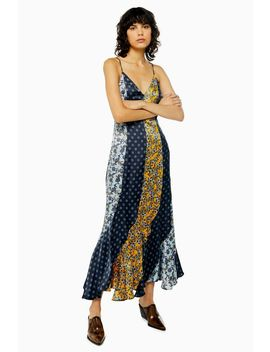 Mixed Print Godet Midi Slip Dress by Topshop