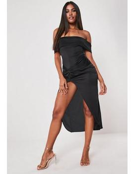Black Slinky Bardot Twist Bodycon Midaxi Dress by Missguided