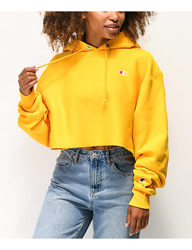 Champion Reverse Weave Gold Crop Hoodie by Champion