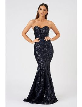**Sequin Baroque Bandeau Maxi Dress By Club L by Topshop