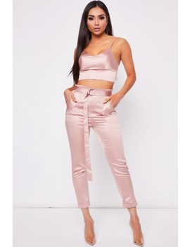 Louise Champagne Satin Bralet Trouser Co Ord by Misspap