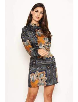 Paisley High Neck Shift Dress by Ax Paris