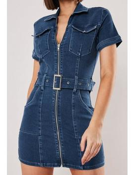 Petite Blue Zip Though Belted Mini Dress by Missguided