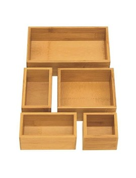 Seville 5pc Bamboo Organizer Boxes Brown (Assorted Sizes) by Seville Classics