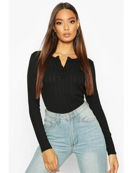 Long Sleeve Ribbed Button Up Bodysuit by Boohoo