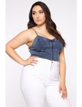 Hot Summer Day Denim Top   Dark Wash by Fashion Nova