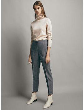 Flanelowe WeŁniane Spodnie O Kroju Slim Fit by Massimo Dutti