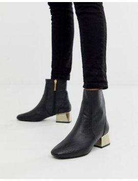 River Island Leather Ankle Boot With Tort Heel In Black by River Island