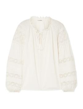 Gemma Lace Trimmed Cotton Voile Blouse by Ulla Johnson