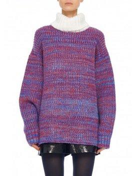Tweedy Wool Sweater Oversized Turtleneck by Tibi