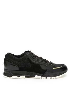 Mesh Cross Suede And Leather Trainers by Lanvin