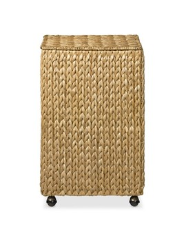 Nantucket Woven Seagrass Single Hamper On Wheels by Williams   Sonoma