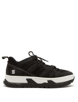 Monogram Low Top Mesh And Nubuck Trainers by Burberry