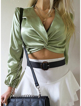 Green Satin Look Plunge Long Sleeve Crop Blouse by Choies