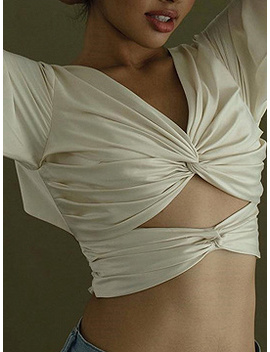 White Satin Look V Neck Open Back Puff Sleeve Crop Blouse by Choies