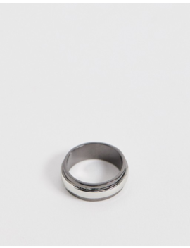 Asos Design Two Tone Band Ring In Silver by Asos Design