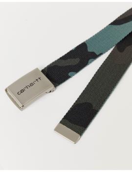 Carhartt Wip Clip Belt Chrome In Evergreen Camo by Carhartt Wip