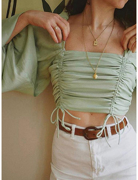 Light Green Square Neck Puff Sleeve Crop Blouse by Choies