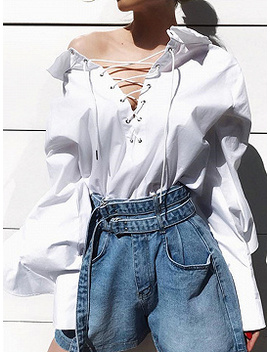 White Cotton Eyelet Lace Up Front Ruffle Sleeve Women Blouse by Choies