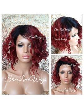 Short Wavy Red Lace Front Wig   Human Hair Blend   Bob Wig   Dark Roots   Swiss Lace   Heat Resistant Safe   Cosplay by Etsy