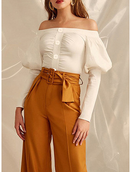 White Cotton Off Shoulder Ruched Detail Puff Sleeve Women Shirt by Choies
