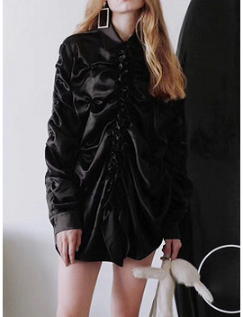 Black Satin Look Frill Trim Ruched Detail Long Sleeve Women Shirt by Choies