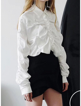 White Satin Look Frill Trim Ruched Detail Long Sleeve Women Shirt by Choies