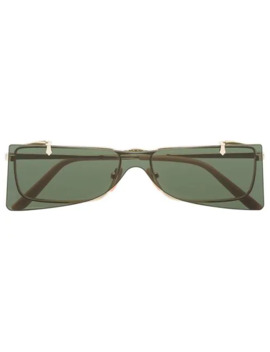 Green And Gold Double Lens Sunglasses by Gucci Eyewear