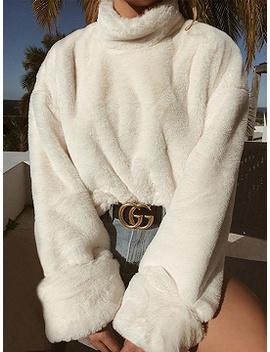 White Cotton Blend High Neck Long Sleeve Chic Women Sweatshirt by Choies