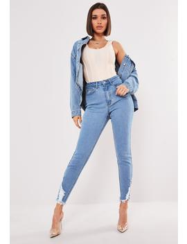 Light Blue Sinner Rip Hem Skinny Jeans by Missguided