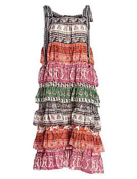 Amari Tiered Tie Shoulder Printed Silk Blend Midi Dress by Zimmermann