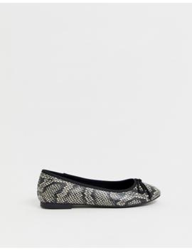 Asos Design Loretta Bow Ballet Flats In Snake by Asos Design