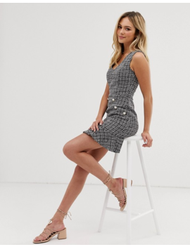 Parisian Tweed Dress With Fluted Hem And Pearl Effect Buttons by Asos
