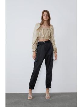 Voluminous Crop Top Shirtstrf by Zara