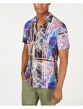 I.N.C. International Concepts Men's Julius Colorblock Palm Print Short Sleeve Shirt by General