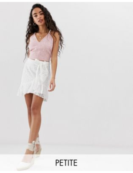 Parisian Petite Wrap Front Skirt In Broderie Anglaise by Asos