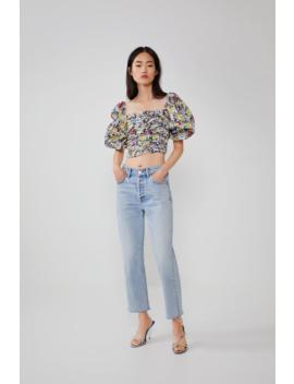 Printed Flounce Top Shirtstrf by Zara