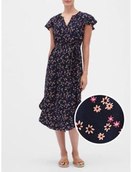 Print Flutter Midi Dress by Gap
