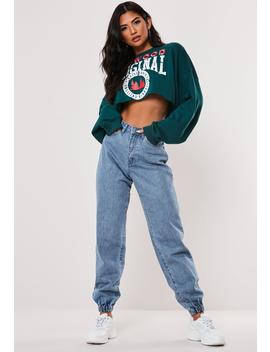 Blue Riot High Waisted Jogger Mom Jeans by Missguided