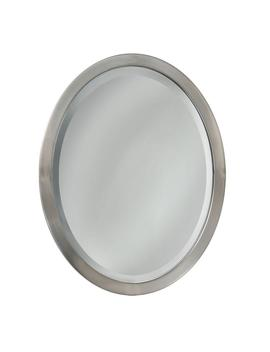 23 In. W X 29 In. H Metal Framed Single Oval Mirror In Brushed Nickel by Deco Mirror