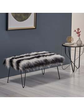 Christopher Knight Home Binniker White/Black Striped Faux Fur Bench With Black by Christopher Knight Home