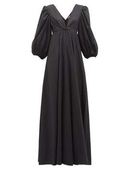 Amaretti Puff Sleeve Cotton Poplin Maxi Dress by Staud